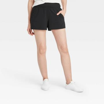 Women's Knit Waist Stretch Woven Shorts - All In Motion Black