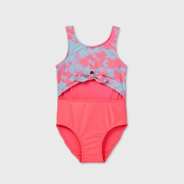 Toddler Girls' Tie-dye Peek A Boo Tie-front One Piece Swimsuit - Cat & Jack Pink/blue