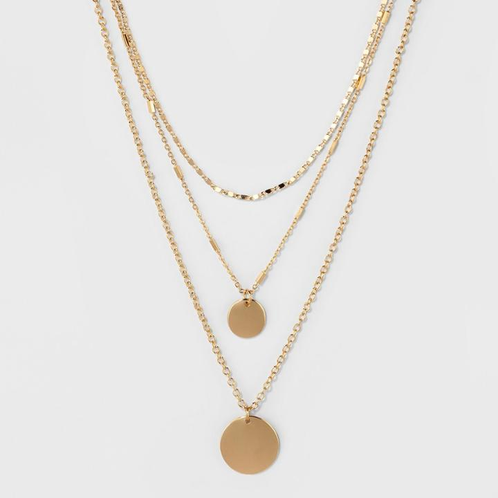 2 Discs & 3 Styles Of Chains 3 Row Short Necklace - A New Day Gold