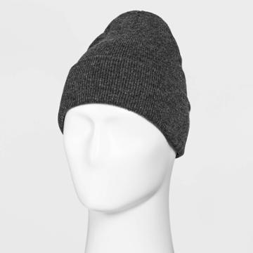 Men's Knit Beanie - Goodfellow & Co Charcoal Heather One Size, Grey/grey