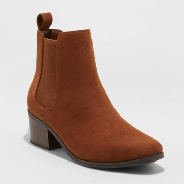 Women's Ellie Wide Width Chelsea Boots - A New Day Cognac