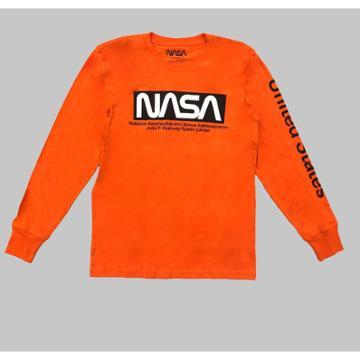 Men's Nasa Long Sleeve Graphic T-shirt - Orange S, Men's,