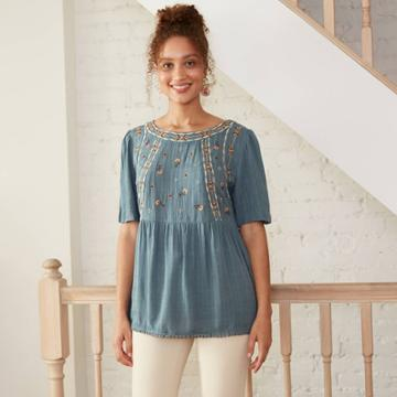 Women's Short Sleeve Embroidered Top - Knox Rose Blue