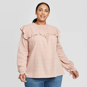 Women's Plus Size Long Sleeve High Neck Ruffle Blouse - Universal Thread Light Pink 1x, Women's,