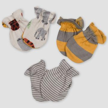 Gerber Baby Boys' 3pk Safari Mittens - Off-white/gray