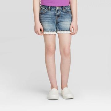Girls' Crochet Hem Jean Shorts - Cat & Jack Medium Wash Xs, Girl's, Blue