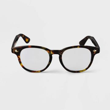 Men's Tortoise Print Round Blue Light Filtering Reading Glasses - Goodfellow & Co Brown
