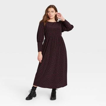 Women's Plus Size Polka Dot Puff Long Sleeve Dress - Who What Wear Black