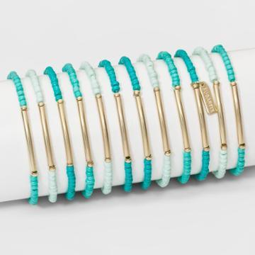 Sugarfix By Baublebar Beaded Bracelet Set Of Eight - Teal, Girl's