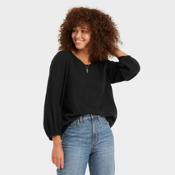 Women's Balloon 3/4 Sleeve Gauze Blouse - Universal Thread Black