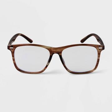 Men's Flat Top Blue Light Filtering Glasses - Goodfellow & Co Brown