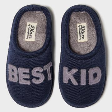 Kids Dluxe By Dearfoams Best Kid Slippers - Navy 7-8, Kids Unisex, Blue Gray