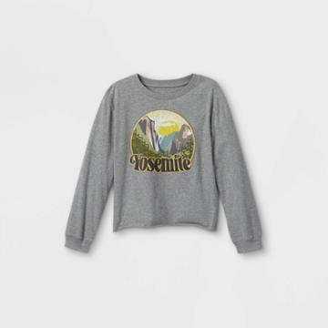 Girls' Graphic Long Sleeve T-shirt - Art Class Gray