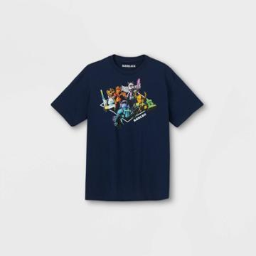 Boys' Roblox 'group On' Short Sleeve Graphic T-shirt - Navy