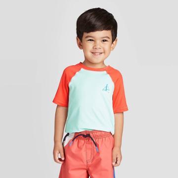 Petitetoddler Boys' Sea Life Short Sleeve Rash Guard - Cat & Jack Turquoise 18m, Toddler Boy's, Blue