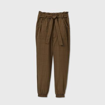 Girls' Paperbag Woven Pants - Art Class Brown