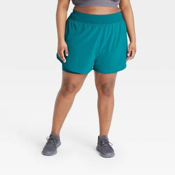 Women's Plus Size 2-in-1 Run Shorts - All In Motion Teal