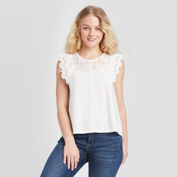 Women's Short Sleeve Lace Detail Knit Top - Xhilaration Off White Xs, Women's, Beige