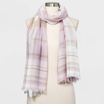 Women's Plaid Oblong Scarf - A New Day Lavender One Size, Women's, Purple