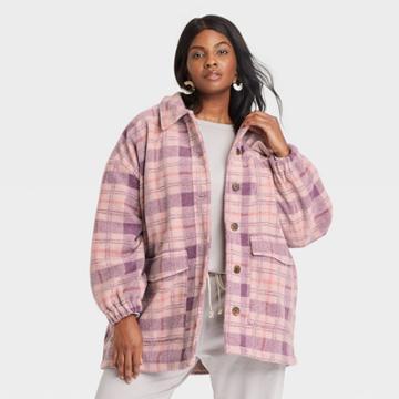 Women's Plus Size Plaid Shirt Shacket - Universal Thread Purple