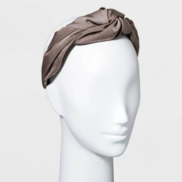 Satin Puffy Knot Headband - A New Day Taupe
