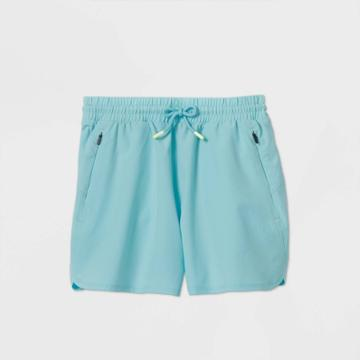 Girls' Quick Dry Board Shorts - All In Motion Aqua Xs, Girl's, Blue