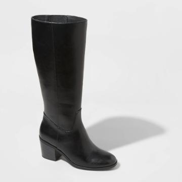 Women's Vivian Heeled Riding Boots - A New Day Black