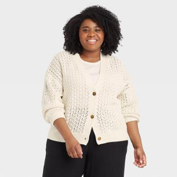 Women's Plus Size V-neck Button-front Cardigan - A New Day Cream