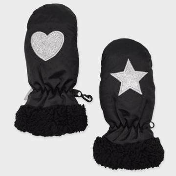 Toddler Girls' Star And Heart Ski Mittens - Cat & Jack Black