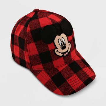 Toddler Mickey Mouse Plaid Hat, Black/red