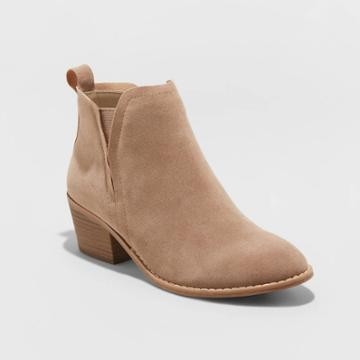 Women's Sheyla Faux Suede Booties - Universal Thread Taupe 6, Women's, Brown