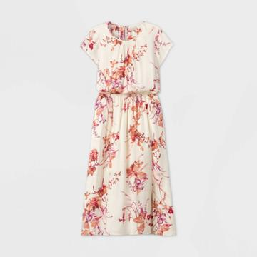 Women's Floral Print Short Sleeve Cinched Waist Dress - A New Day Cream