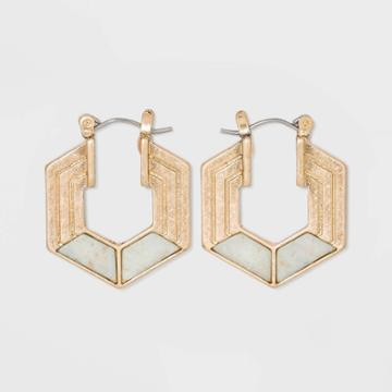 Semi-precious Amazonite Hexagon Hoop Earrings - Universal Thread Mint, Women's, Green