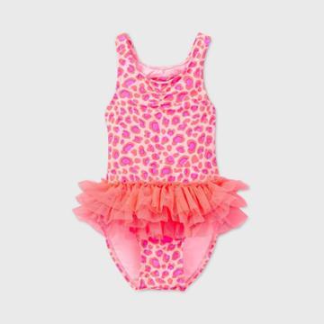 Toddler Girls' Leopard Print Tutu One Piece Swimsuit - Cat & Jack Pink