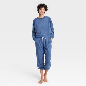 Women's Reverse Fleece Lounge Sweatshirt - Colsie Blue