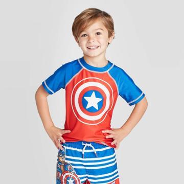 Toddler Boys' Marvel Captain America Rash Guard - Blue 2t, Toddler Boy's,