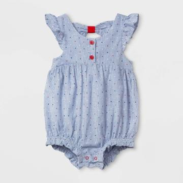 Baby Girls' Bow-back Romper - Cat & Jack Blue Newborn, Girl's