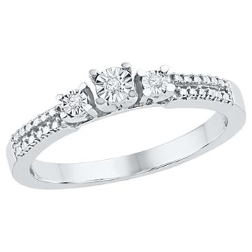 Target 0.03 Ct. T.w. Round Diamond Miracle Set Three Stone Ring In Sterling Silver (6), Girl's, White