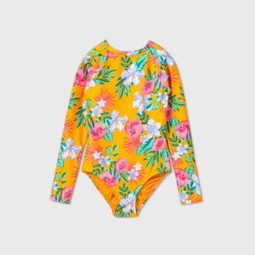 Girls' Floral One Piece Swimsuit- Art Class Orange