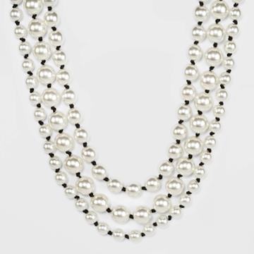 Multi Row Simulated Pearl And Knotted Cording Layered Necklace - A New Day Rust, Women's, Black