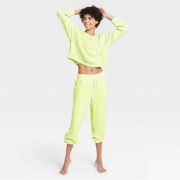 Women's Reverse Fleece Lounge Sweatshirt - Colsie Green