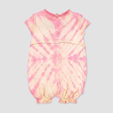 Burt's Bees Baby Baby Girls' Organic Cotton Peachy Tie-dye Bubble Romper - Cream 3-6m, Girl's, Pink