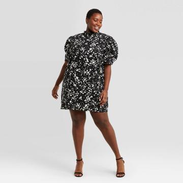 Women's Plus Size Polka Dot Short Puff Sleeve Ruffle Dress - Who What Wear Black