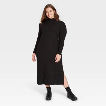 Women's Plus Size Puff Long Sleeve Sweater Dress - Who What Wear Black