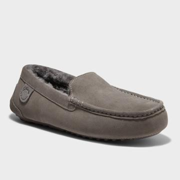 Men's Dluxe By Dearfoams Nelson Genuine Shearling Moccasin Slippers - Gray