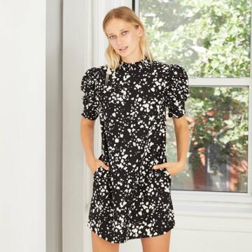 Women's Polka Dot Short Puff Sleeve Ruffle Dress - Who What Wear Black
