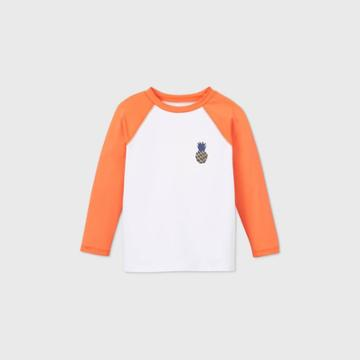 Toddler Boys' Pineapple Print Long Sleeve Raglan Rash Guard Swim Shirt - Cat & Jack Orange/white