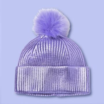 Girls' Beanie Hat With Pom - More Than Magic Purple, Girl's