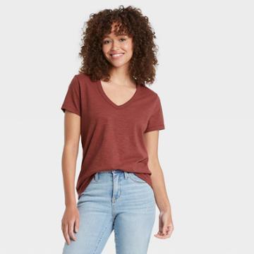 Women's Short Sleeve V-neck T-shirt - Universal Thread Burgundy