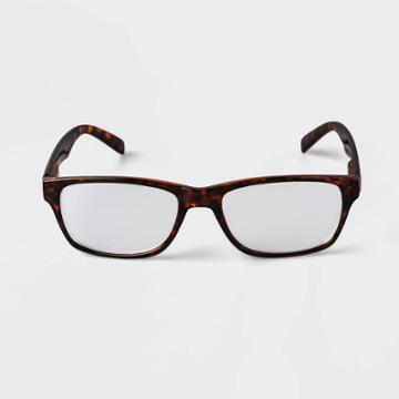 Men's Tortoise Print Rectangle Blue Light Filtering Reading Glasses - Goodfellow & Co Brown
